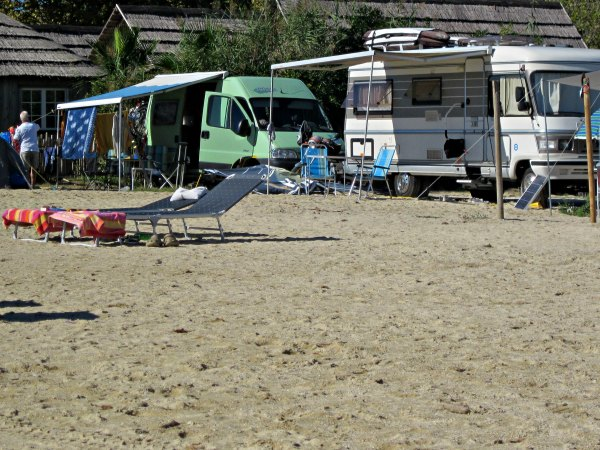 Camping in St. Tropez Bay, Port Grimaud, France.