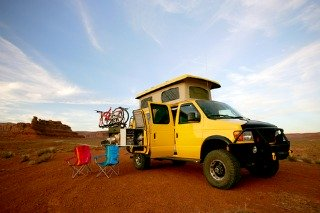 Sportsmobile camper van camping out in the desert.