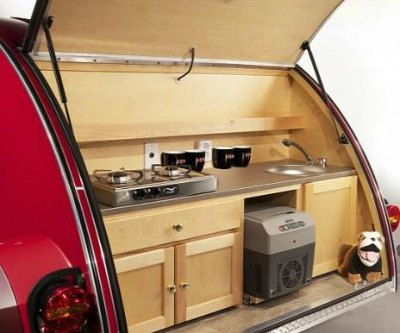 Teardrop camper kitchen/galley unit.
