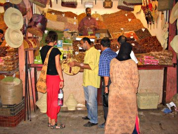 Spices, nuts and other local foods at the Marrakesh Medina, Morocco