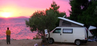 Camping on the beautiful Croatian coast - island Murter.