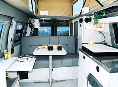 One of the many possible Sportsmobile interior camper van designs.