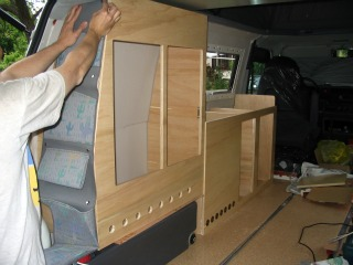 Fitting cupboards in a camper van conversion