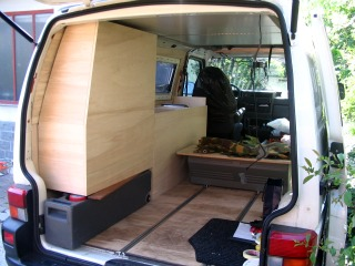 portable water tank in a camper van conversion