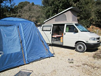 Driwe away camper awning erected