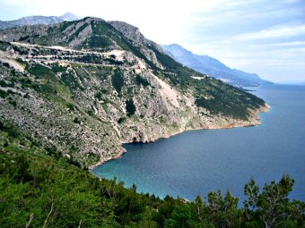The scenic road at Makarska Riviera, Croatia.