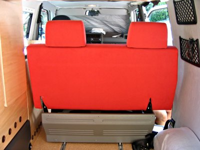 Camper van interior folding seat