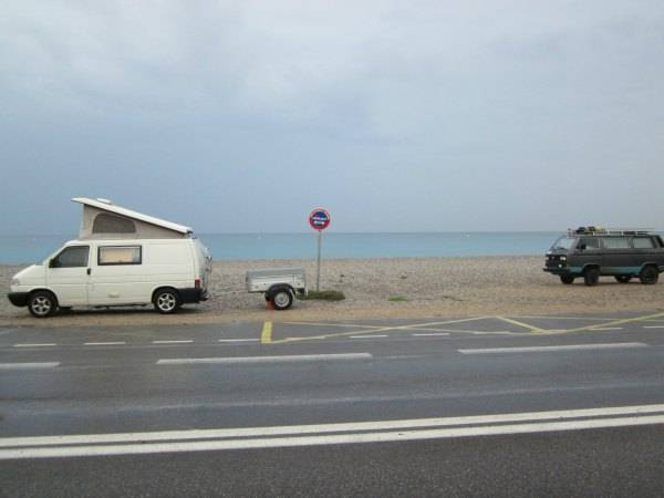 Our camper van vacation in France  starts by waking up on the beach near Antibes.