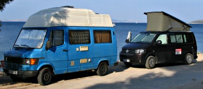 Sprinter homemade hard top camper van conversion and a Volkswagen California with the famous pop top roof.