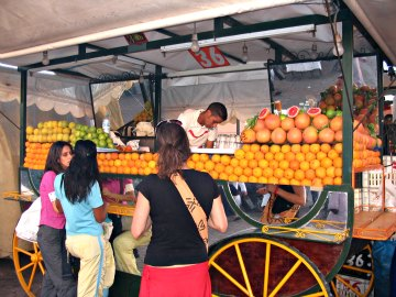 Fresh fruit juice wagon at Jamaa el-Fna square - Marakesh, Morocco