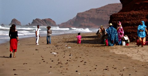Plage Legzira with the locals having a day at the beach, Morocco.