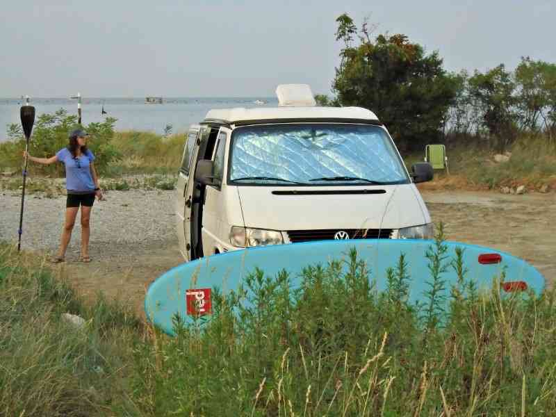A roadtrip with our Volkswagen camper and a paddle board.