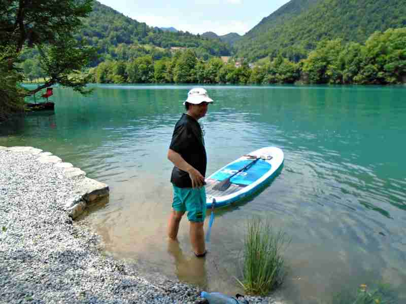 Exploring the Soča river in Slovenia on my SUP.