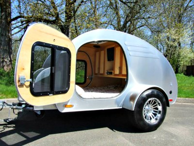 Oregon Trail'R FronTear teardrop camping trailer.