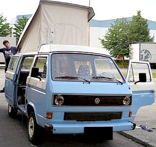 Almost finished. A wonderful homemade Volkswagen camper using used camper parts.