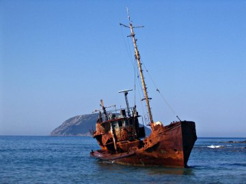 A shipwreck near Methoni, Greece.