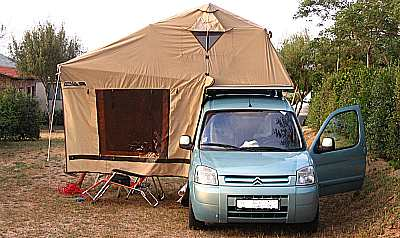 Roof tent camping on the island of Sardinia.