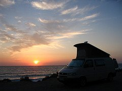 Sunset on the Atlantic coast of France in my camper van.