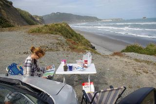 Camping on a beach in New Zealand
