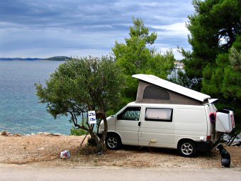Campin Croatia on a beautiful beach.