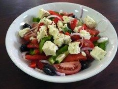 Greek salad is a must for any Mediterranean style camping food!