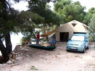 Camping in Europe in a roof tent. The marvelous coast of Croatia.