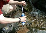 Camping water purifier is a whole lot better solution.