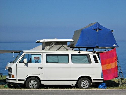 Volkswagen T3/Vanagon with a pop top roof and a roof top tent. & Roof Top Tent Van Camping