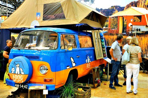 Volkswagen Baywindow camper with a roof top tent from 3 Dog.